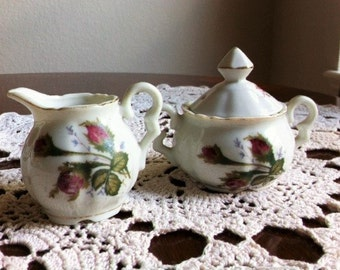 Sugar Bowl And Creamer Set With Gold Trim And Roses