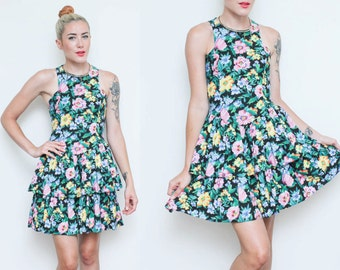 Floral Sleeveless Dress // Racerback Ruffle Dress // 80s 90s Tank Fitted Boho Party Cocktail Ruched Tiered Skirt Dress Small Size 3 4