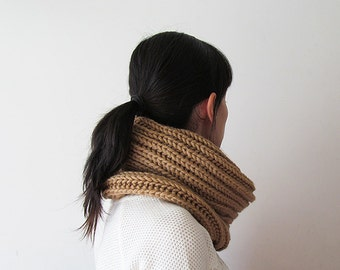 Hand Knitted Cowl in Camel - Chunky Knit Cowl - Neckwarmer - Wool Blend - Ready to Ship