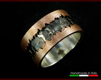Fractures Ring in Sterling silver 925 and copper - made in italy