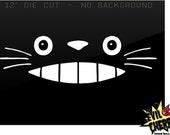 "12"" wide Totoro smile face Vinyl Decal sticker Anime movie Kawaii Friend Truck Car Window tailgate locker die cut sticker USA cartoon"