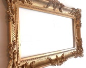 Vintage Large Molded Plastic Ornate Florentine Frame Carved Rococo Design