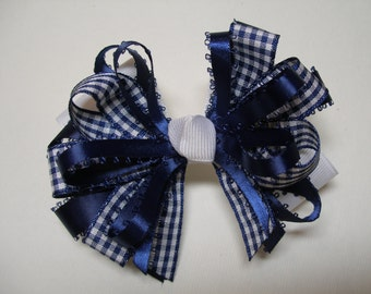 Navy Blue Gingham Check Hair Bow and White Back to School Boutique Uniform Accessory