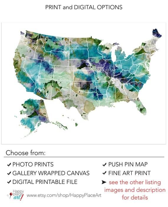 Very Large USA Map watercolor Khaki Teal watercolor USA