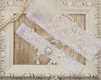 Off White Pearl Beaded Lace Wedding Garter Set , Off White Lace Garter Set, Toss Garter , Keepsake Garter, Bridesmaid Gift, Prom, Wedding