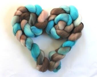 4oz SuperFine Merino Combed Top 'SeaSwept II' Roving Dyed Wool Spinning Fiber Indie