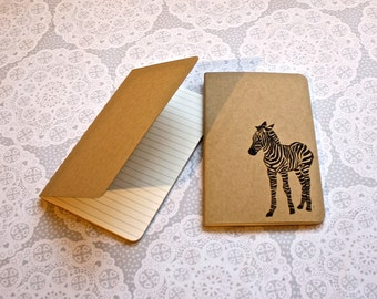 Zebra note book | Cahier journal | Moleskine | Lined pages | Lino print | Handmade | Pocket size |