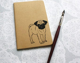 Pug print note book | Dog print | Animal print | Moleskine | Cahier Journal | Lined pages | Lino print | Handmade | Pocket size |