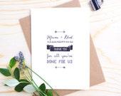 Mum & Dad Wedding Thank You Card - Mum Thank You Card - Dad Card Wedding -  Wedding Card Mum and Dad - Thank You Mum and Dad - Wedding Card