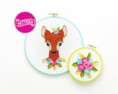 PDF Pattern, Christmas Ornament, Deer Head, Deer Embroidery Design, Felt Deer, Little Deer Pattern, Felt Roses, Hoop Art, Felt Flowers