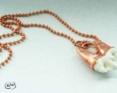 Copper coyote tooth necklace