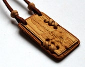 Birch Bark Pendant , Wooden Necklace, Russia Handmade Free Shipping