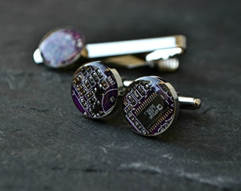 Circuit Board Cufflinks & Tie Clip, Geeky Nerdy Modern Cufflinks Tie Bar, Men's Tie Accessory Set, Gift For Him, Gothic Cufflinks
