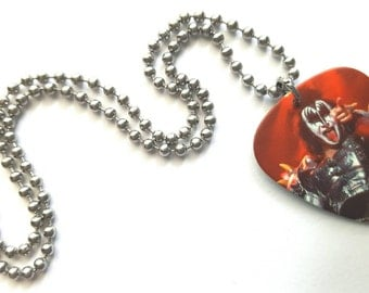 Kiss Guitar Pick Necklace with Stainless Steel Ball Chain - music