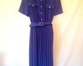 plus size dress vintage dress royal blue dress graphic print dress 1980s VTG 80s large dress size 18 dress royal blue dress vintage