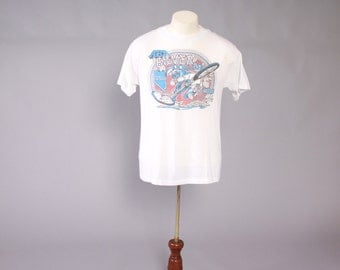 Vintage 80s BMX T-SHIRT / 1980s Silver Dollar Nationals Dirt Bike Tee Tshirt Soft Thin S - M