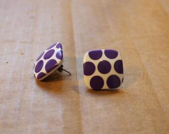 1980s Purple Polka Dot Earrings