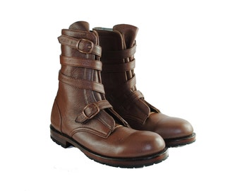 THOMPSON Brown Pebbled Leather TANKER Boots. (All sizes)