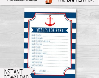 Nautical Wishes for Baby Cards Baby Shower games - Navy and Red printable - Baby Boy Nautical Baby Shower Sailor Anchor
