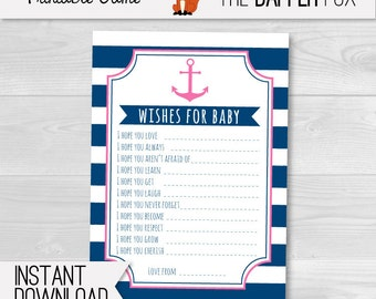 Pink Nautical Wishes for Baby Cards Baby Shower games - Navy and Pink printable - Baby Girl Nautical Baby Shower Preppy Sailor Anchor
