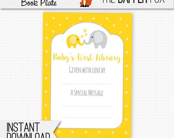 Book Plate Yellow Elephant Bring A Book Baby Shower - printable bookplate book label - Baby's First Library Gender Neutral Yellow and Grey