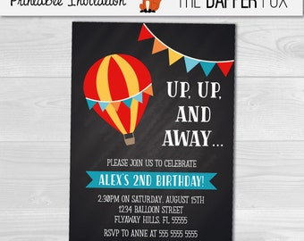 Hot Air Balloon Chalkboard Birthday Invitation Boys Birthday Invitation - Printable - Unisex Boy First Birthday chalk board Invitation