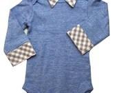 Onesie with Collar - Light Blue - Gray Gingham Faux Collar - Baby Boy - Dressy Onesie