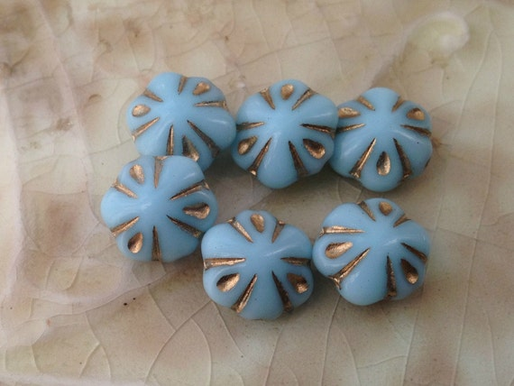 Czech Glass Flower Beads - Light Blue with Carved Gold Design - 11mm - Qty 6