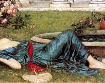 Summer Fabric Block | Woman Reclines By Fountain | Repro John William Waterhouse