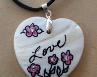 Hand Painted Heart Necklace