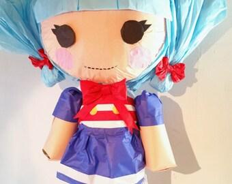 Puppet Pinata Yours Truly Blue Lalaloopsy Inspired | Movable Limbs | Interactive Pinata | Rag Doll Pinata | Lalaloopsy Theme | Party Game