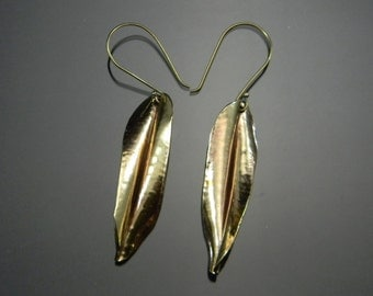 Leaf Earrings, Brass Earrings, Fashion Earrings, Long Dangle Earrings, Feather Earrings, Gold Earrings, Big Gold Earrings
