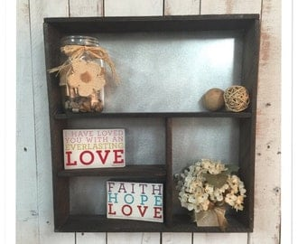 Rustic Shadow box, Shadow box,  rustic home decor, wall shelf, bathroom shelf, christmas gift, wood and metal shelf, living room shelf