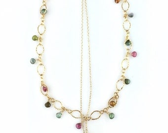 Tourmaline, peridot, garnet, citrine gemstone layered necklace
