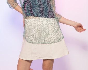 Sheer Teal Turquoise Fisherman's Net Knit 3/4 Sleeve Top