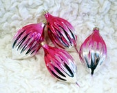 Pretty in Pink... Set of 4 Vintage Glass Christmas Ornaments, Icicles, Baubles - Fuchsia Pink and Silver with Glitter; Made in Russia