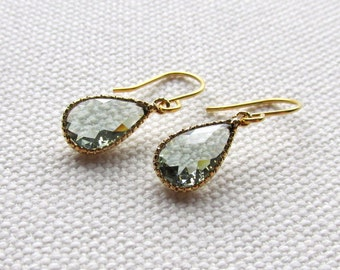 Gold Charcoal Drop Earrings Skinny Teardrop Grey Crystal Jewelry Gift For Her