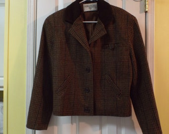 Preppy Tailored Women's Vintage Brown Plaid Jacket Size 8 Wool Fashion For Fall