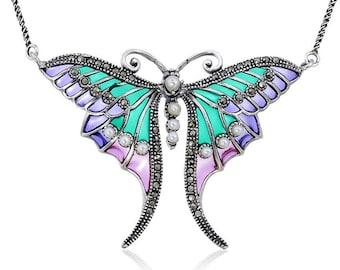 Sterling Silver Art Nouveau Plique a Jour Enamel Butterfly Marcasite & Freshwater Pearl Necklace Pendant 925 Suffragette green purple