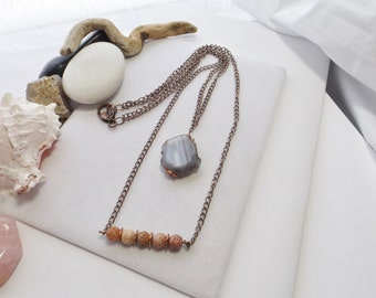 Southwestern, Boho, Rustic, Handmade, Two Layer Copper Chain Necklace with Grey Agate Pendant and Soapstone, Gift for Her, Summer, Fall