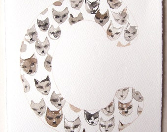 Cat's letter C, watercolor illustration, watercolor painting original, Typography art, Nursery art, letters illustration 7,5'x11'
