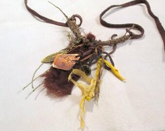 Artistic Boho Necklace Amulet Talisman Fur Leather Necklace  OOAK Wearable Art