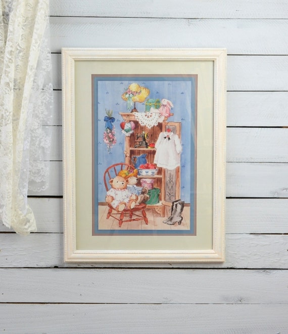 Vintage Baby Wall Decor : Framed nursery print wall art baby girl by ywart