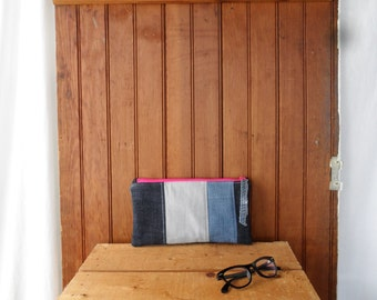 Zip Pouch - recycled denim patchwork zip quilted supply bag