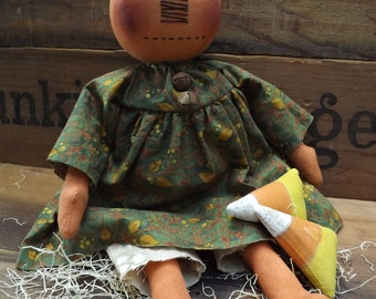 Primitive Pumpkin Rag Doll Jack O Lantern Rag Doll Halloween Decor