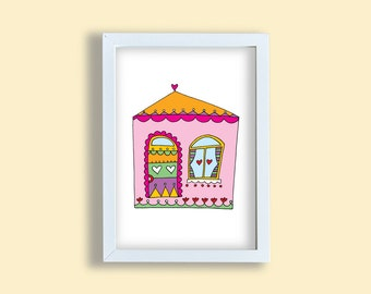 Children room art print, colorful house, pink nursery art, pen art kids deco print, children room wall art, home poster wall decoration