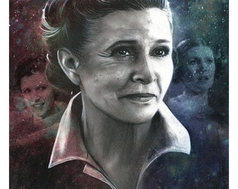 "Signed Giclee Print by James Hance -  ""Leia"" (Star Wars / Carrie Fisher)"