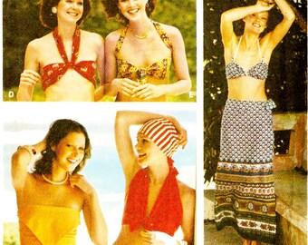 Butterick 3685 Retro Misses' Halter Tops, Skirt, & Bikini Sewing Pattern Sz Small