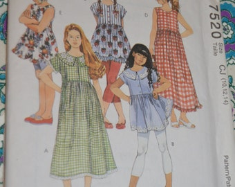 McCalls 7520 Childrens and Girls Dresses or Tops Sewing Pattern UNCUT Size 10 12 14