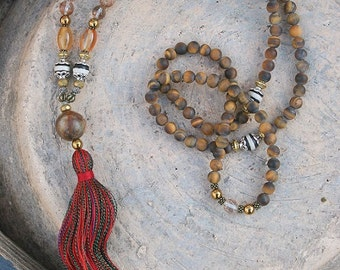 Beautiful frosted tiger eye - faceted quartz gemstone mala necklace